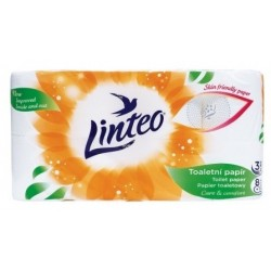 Papier toaletowy Linteo, 8 rolek, biały, trójwarstwowy