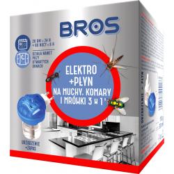 BROS elektrofumigat +płyn na muchy, komary i mrówki   3W1