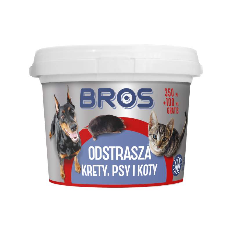 BROS odstrasza krety, psy i koty 450 ml proszek