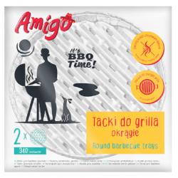 Tacka aluminiowa grill okrągła Amigo 34 cm średnicy 2 szt.