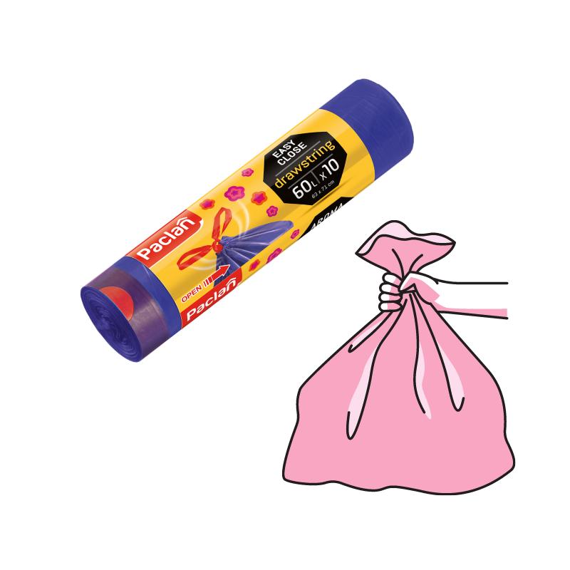 Worki na śmieci zapachowe 60lx10 szt PACLANWorki na śmieci zapachowe z taśmą 60lx10 szt PACLAN
